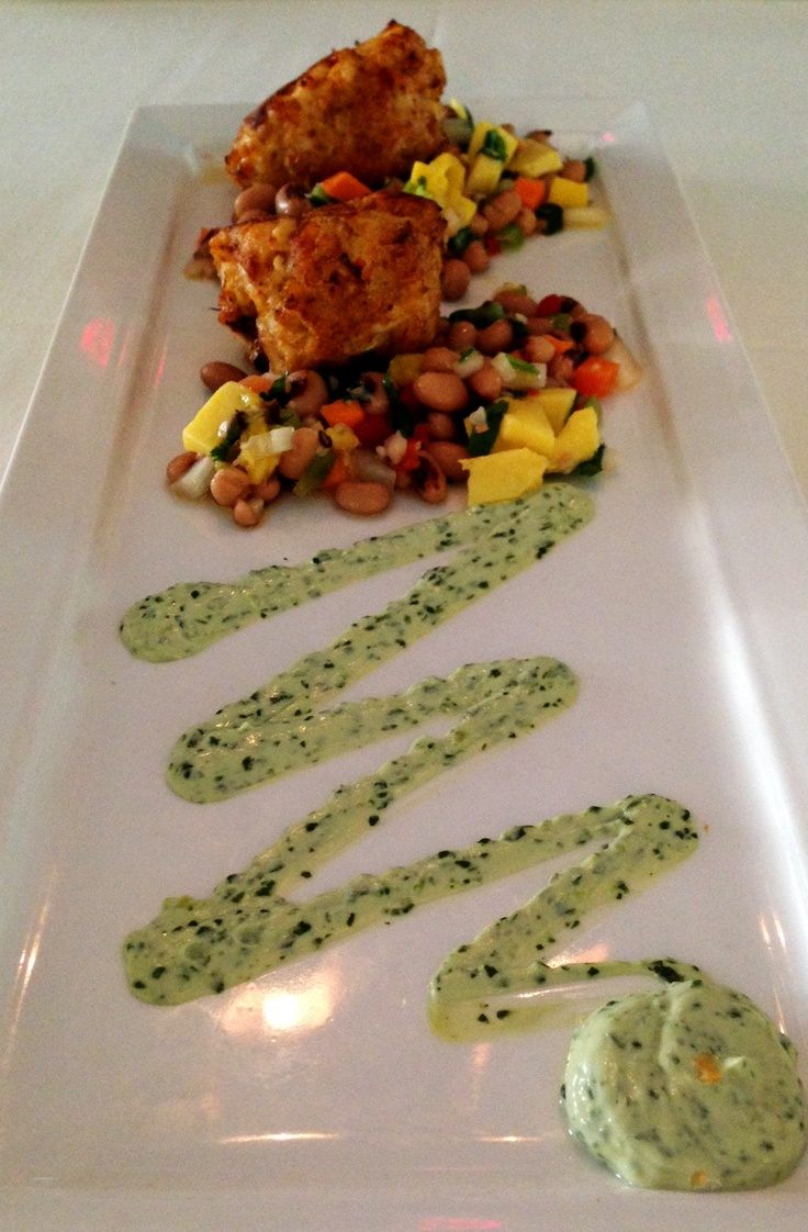 Broiled Crab-Shrimp Cake - Mango and black-eyed pea salad with ...