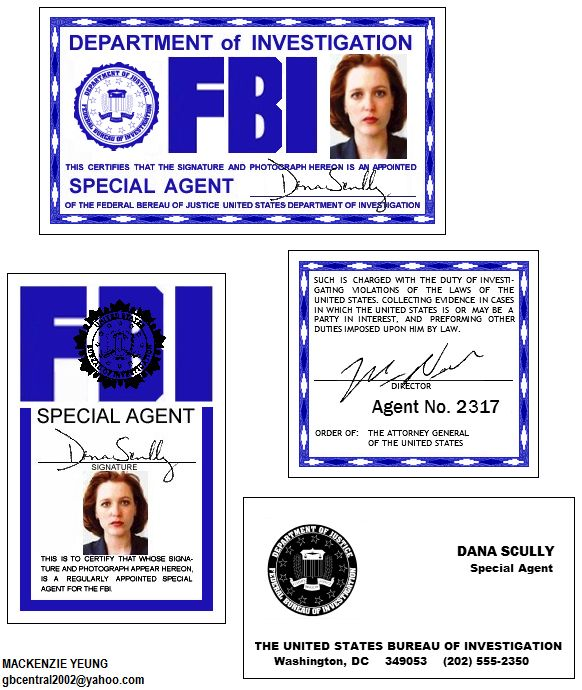 X-Files Scully Badge set. The main two IDs were on public domain on the net, don't know who the original creator was. I recolored it a little and added the Agent ID number card and Scully's card. P...