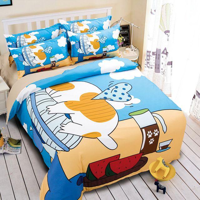 bedding bed linen sets twin full queen king size duvet comforter quilt coverJapan Style Cartoon Pet cat ocean beach blue   3/4pc