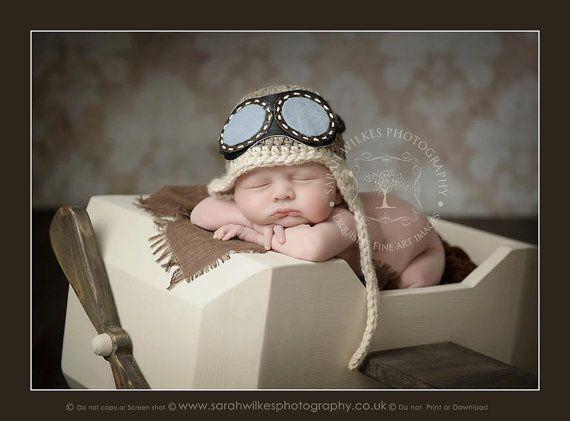 Chapeau aviateur nouveau-né. Chapeau aviateur de bébé avec des lunettes. Chapeau aviateur de bébés. Photographie de nouveau-né Prop. Vendeur Britannique                                                                                                                                                                                 Plus