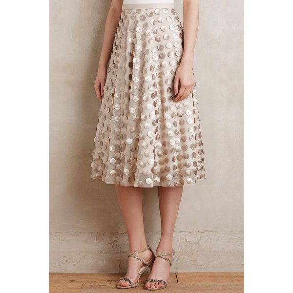 Eva Franco Shimmer Spot Skirt ($130) via Polyvore featuring skirts, gold, petite skirts, brown a line skirt, eva franco skirt, travel skirt and eva franco