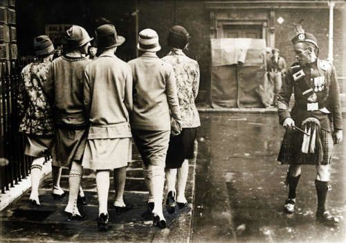 some things never change.. Five ladies with long stockings and a Scotsman, England, 1927