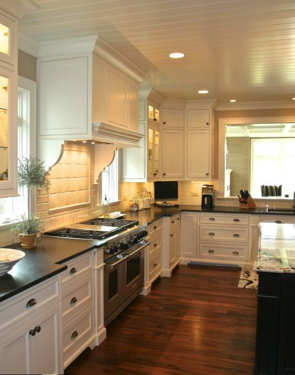 Wood Panel Ceiling White Kitchen Cabinets Dark Floors