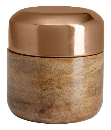 Wooden Box with Lid - $6.95 Round wooden box with contrasting lid. Diameter 3 in., height 3 1/4 in. - 50% wood, 50% glass. Art.No. 57-7228