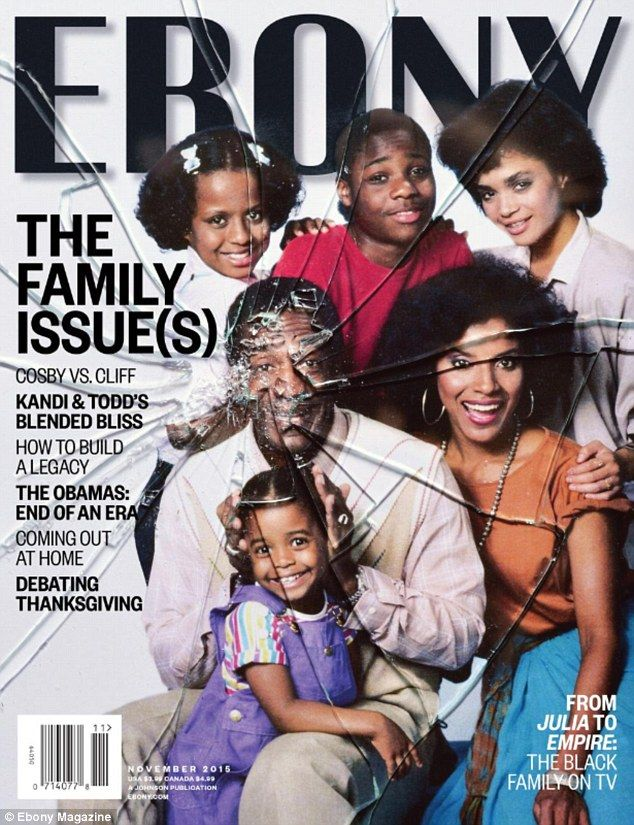 Shattered: The cover of the November issue of Ebony magazine features a cast picture of The Cosby Show marred by broken glass