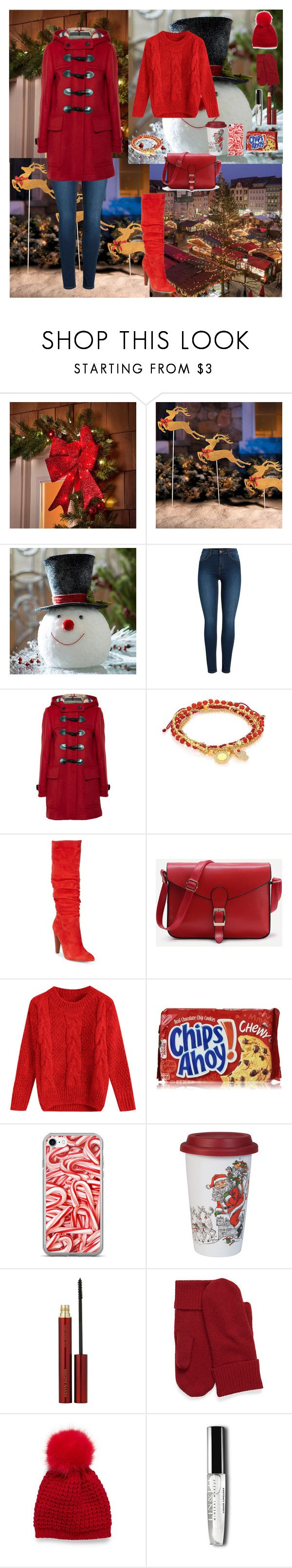 """Christmas Fair❄️☕️"" by oksana-kolesnyk ❤ liked on Polyvore featuring Improvements, Pieces, Burberry, Astley Clarke, Steve Madden, Fitz & Floyd and Kevyn Aucoin"