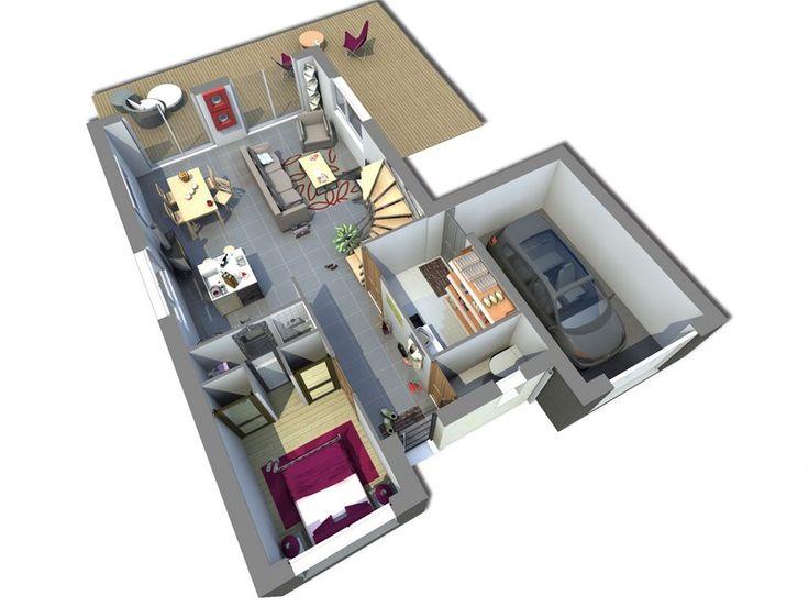 Maison, gamme les actuelles. Modèle Tsumiki. Vue intérieure rez de chaussée