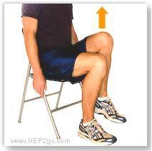 Basic knee strengthening exercises. * Quads: 1) Quad Clenches 2) Short Arcs 3) Straight Leg Raise 4) Long Arcs 5) Knee Marching * Hamstrings:1) Hamstrings Clenches 2) Buttock Kicks 3) Kick Backs 4) The Bridge * Glutes: 1) Buttock Clenches 2) The Clam  * Calfs: 1) Heel Raises * Combination exercises: 1) Sit to Stand * Balance: 1) One Leg Standing.