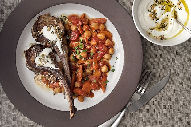 Find the recipe for Lamb Chops with Everything-Bagel Yogurt and Chickpeas and other chickpea recipes at Epicurious.com