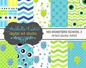 INSTANT download Monsters digital paper 300 dpi 12x12 for invitations scrapbooking and more