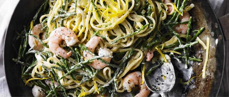 The best recipe for samphire. This easy dish is made with linguine and pairs the sea vegetable samphire with king prawns in a super-quick pasta sauce.