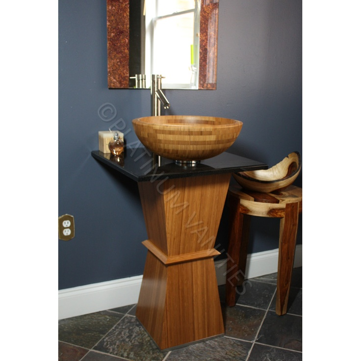 17 best images about bath room sinks and counters on for Modern bamboo bathroom vanity