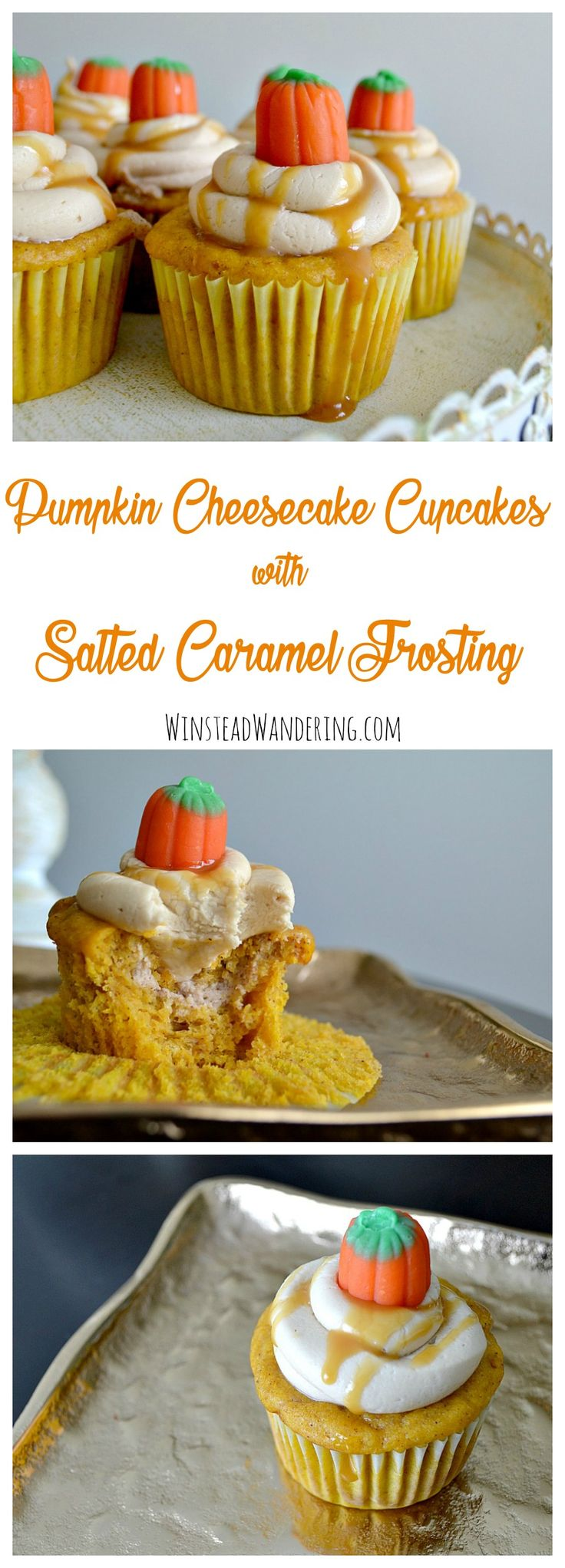 Perfectly sweet cupcakes with a ribbon of creamy filling and a topping of decadent frosting. You've got to try Pumpkin Cheesecake Cupcakes with Salted Caramel Frosting!