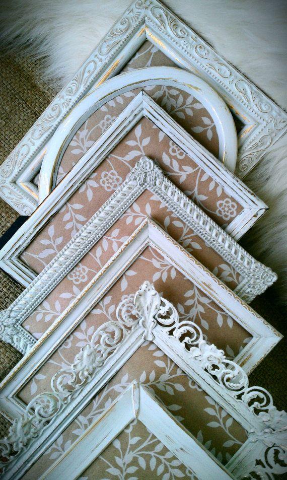 Shabby Chic, Wedding Picture Frames, White, Set of 7 on Etsy, $69.00