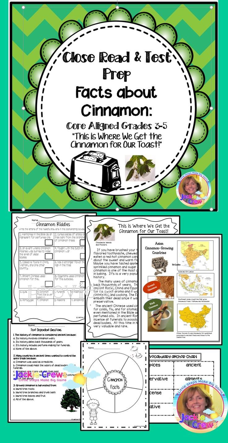 This 24 page close read packet covers grades 3-6 core standards to help prepare students for yearly testing. There is a close read about cinnamon, text dependent questions, writing pages, organizers, vocabulary anchor chart, maps where cinnamon is grown, word work, descriptive writing, cinnamon riddles and more.