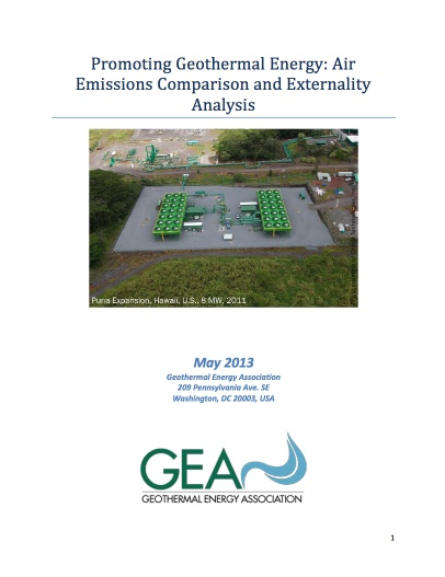US Geothermal Energy Association published a report that explores beneficial externalities associated with using geothermal power instead of fossil fuels by comparing emissions levels of different fuel sources.