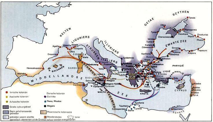 De Griekse kolonisatie (750 - 550 v. Chr.). Bron: Sesam Atlas bij de wereldgeschiedenis I (Baarn, 1965)