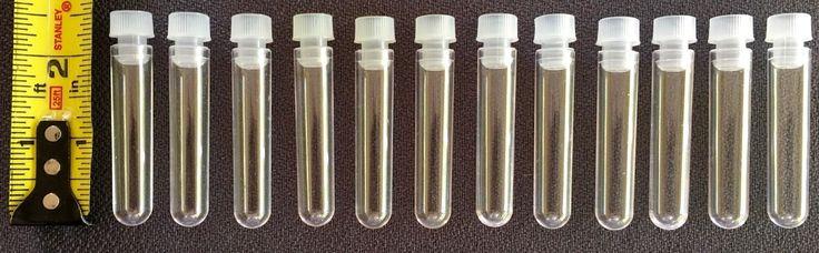 "12  Clear 3Ml Vials  2 1/2"" X 1/2""  W/Plastic Top"