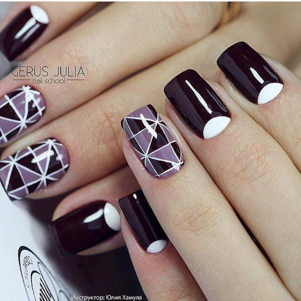 Elegant nails, Fashion shellac nails, Festive nails, Geometric nails, Half-moon nails ideas, Nails ideas 2016, Nails trends 2016, Pattern nails