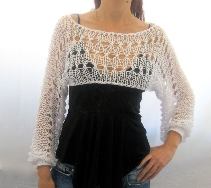 Cotton Summer Cropped Sweater Shrug in white color hand by Rumina