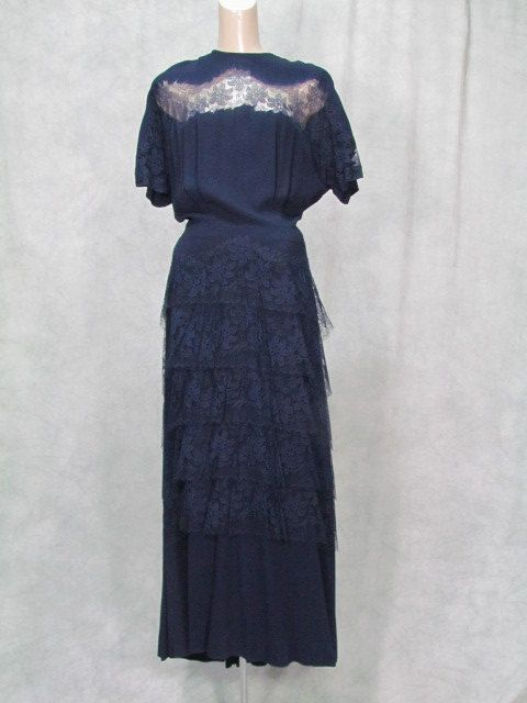années 1940 tapis rouge robe formelle Vintage bleu marine pure dentelle grande taille vieux Hollywood