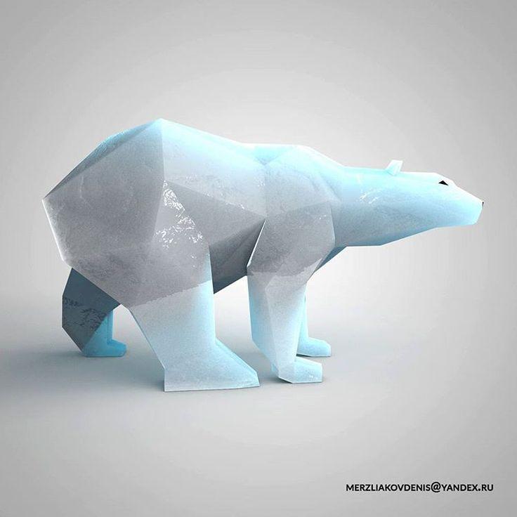 43 отметок «Нравится», 1 комментариев — мерзляков (@denismerzliakov) в Instagram: «#polar #polarbear #artobject #sculpture #lowpoly #lowpolyanimals #design #decoration #anatomy…»