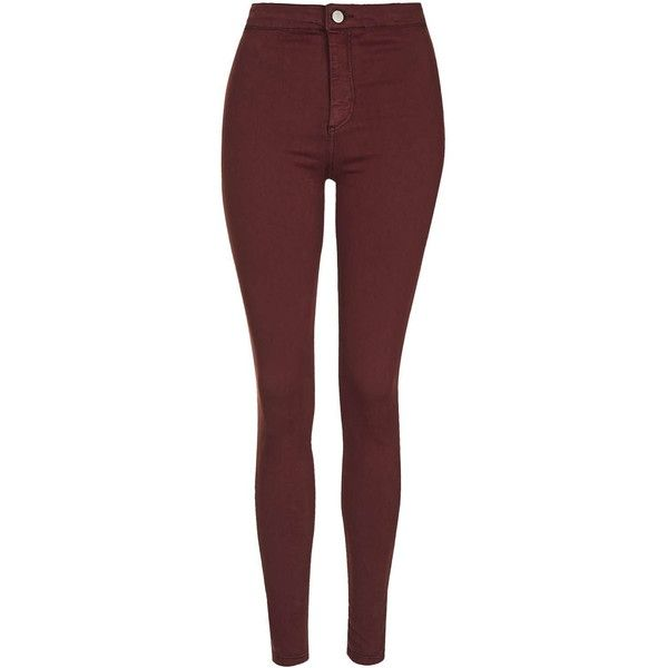 TOPSHOP MOTO Burgundy Joni Jeans found on Polyvore featuring jeans, pants, bottoms, pantalones, burgundy, high waisted skinny jeans, topshop, high waisted jeans, highwaisted skinny jeans и high rise jeans