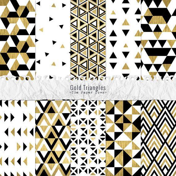 Papiers Numériques Fête Motifs Triangles, Or, Blanc, Noir - 10 Papiers Scrapbook Feuille Or, Triangles Seamless - Téléchargement Immédiat