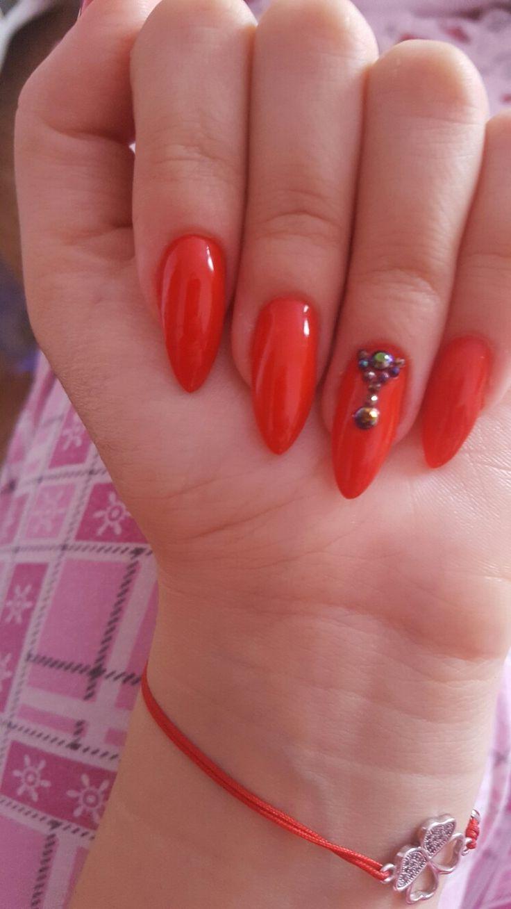 #rednails #stiletto #stones #gelnails #red #nails #short #almond