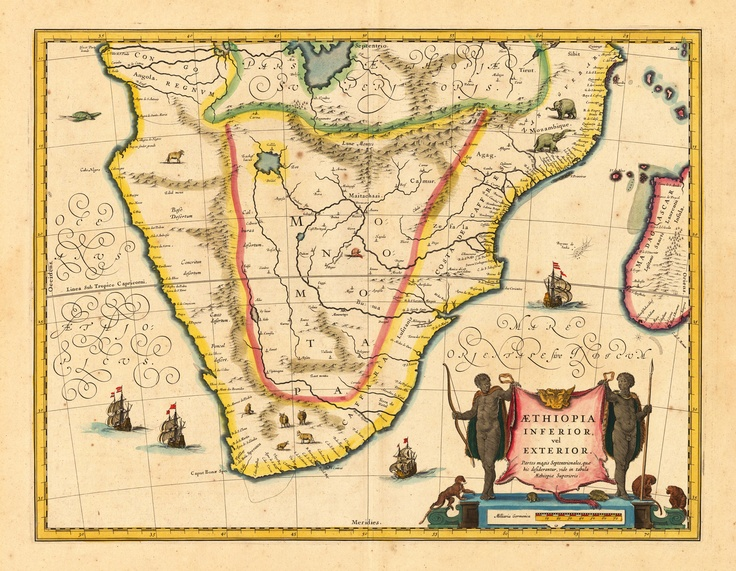 Old map of the southern tip of Africa. Looks like modern day South Africa, Lesotho, Swaziland, Namibia, Zimbabwe, Mozambique and a bit of Madagascar. Hope I got that right. Haha. #oldmaps #explorer