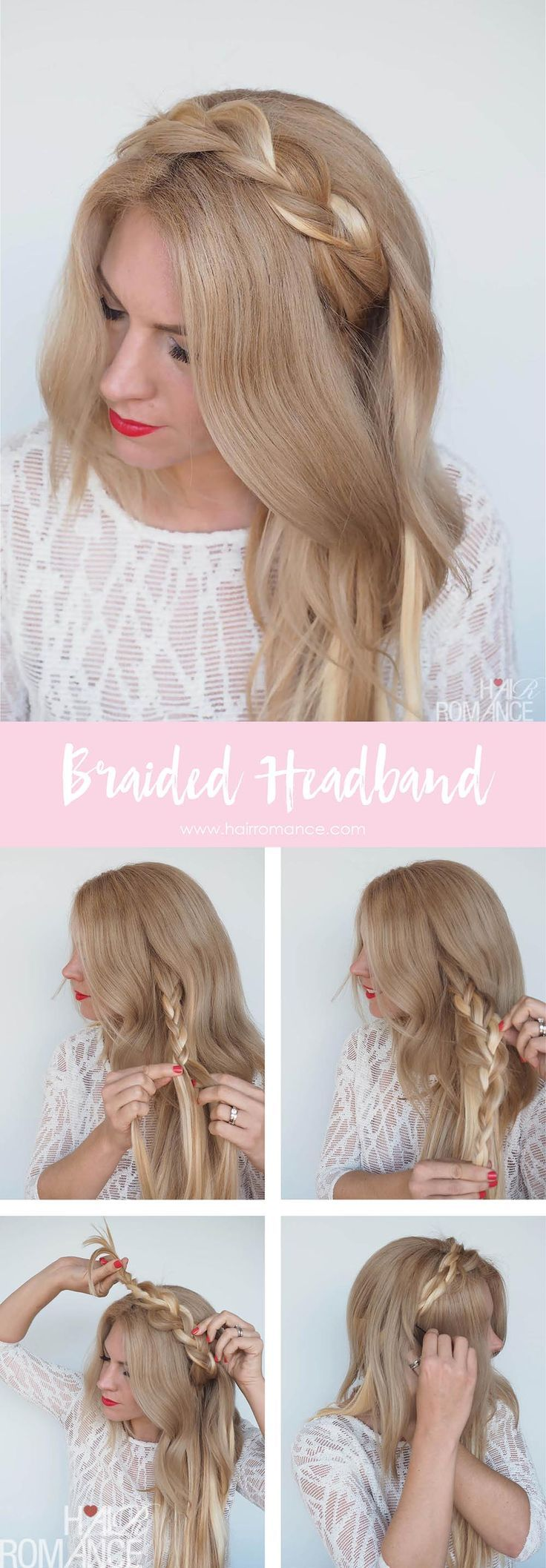 Braided headband hairstyle tutorial