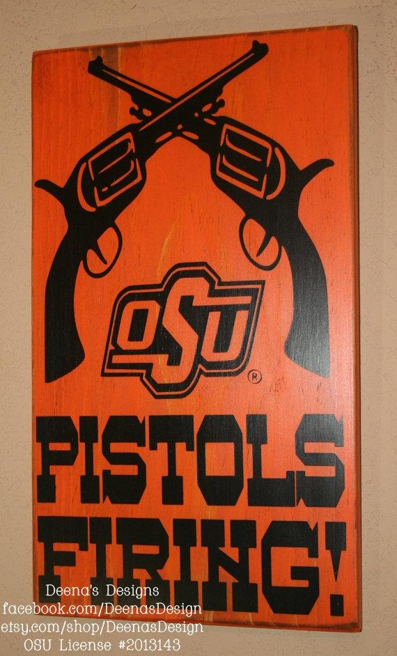 Pistols Firing - Oklahoma State University wall hanging - Officially Licensed by DeenasDesign, $36.00 - https://www.facebook.com/DeenasDesign