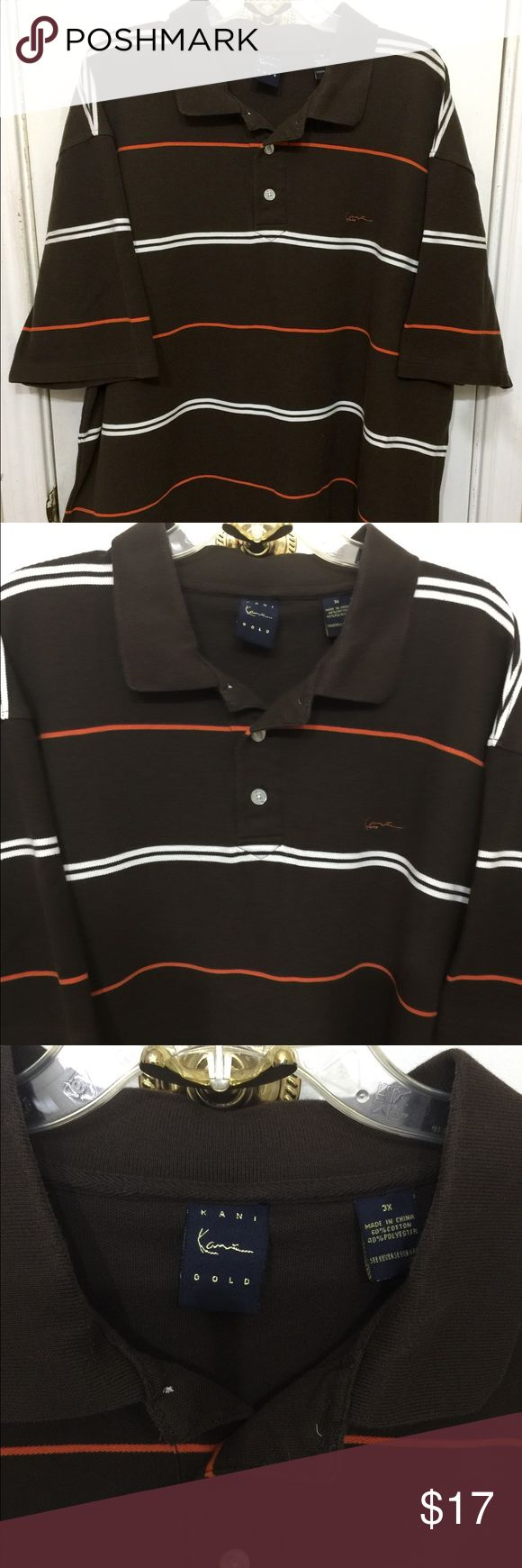 Kani Gold Men's Polo Shirt Sz 3X Brown Kani Gold Men's Striped Polo Shirt Sz 3X Brown Kani Gold Shirts Polos