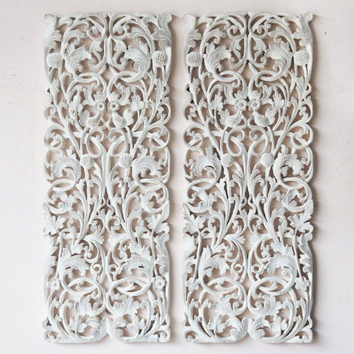 Pair Of Carved Wall Panel Bed Headboard Wood Carving Sculpture Wall Hanging White Wash Carved Wood Wall Art Carved Wood Wall Decor Carved Wall Art