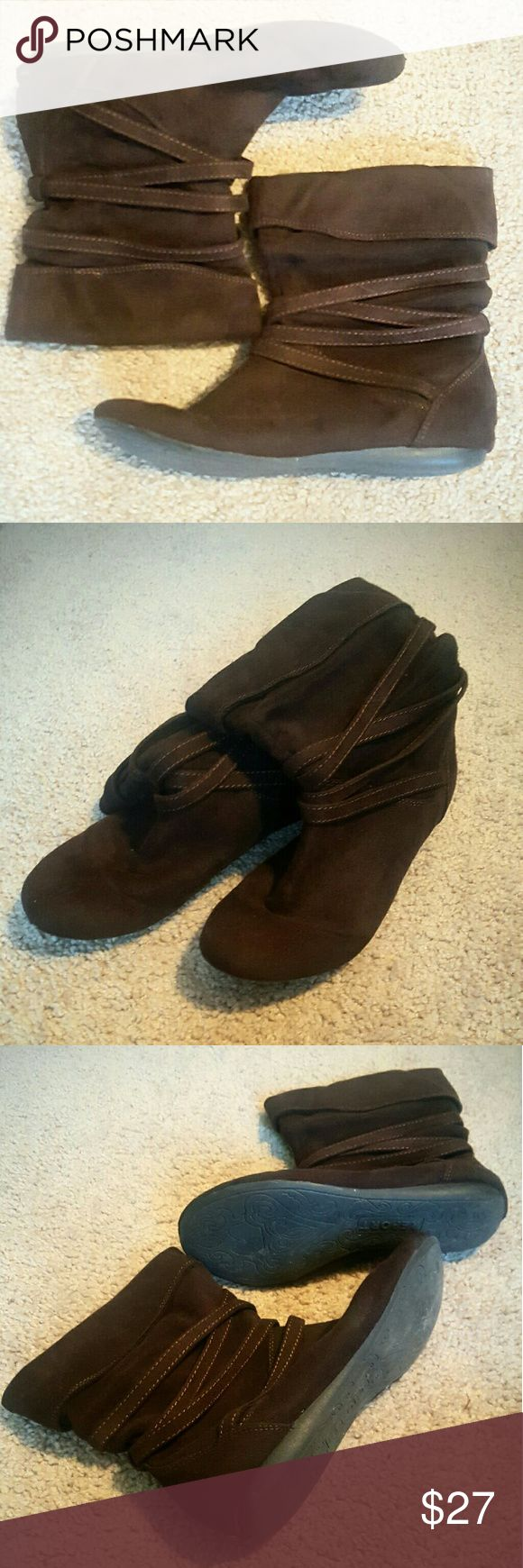 Booties Chocolate brown suede. Rubber sole makes these booties very comfortable. Gently worn, still in great condition Report Shoes Ankle Boots & Booties