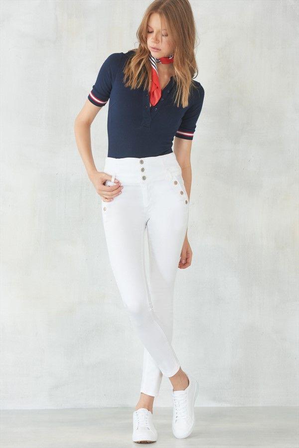 Beyaz Mükemmel Yumuşaklık Süper Yüksek Bel Skinny Jean MLWAW17EN4761 TRENDYOLMİLLA | Trendyol