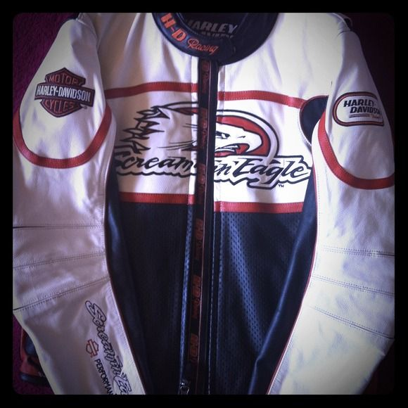 Harley Davidson Screaming Eagles leather jacket Beautiful Harley Davidson leather jacket. Black, orange and cream. I've only worn it 5 times, brand new, no marks! Size medium and fitted, very hot! Jackets & Coats