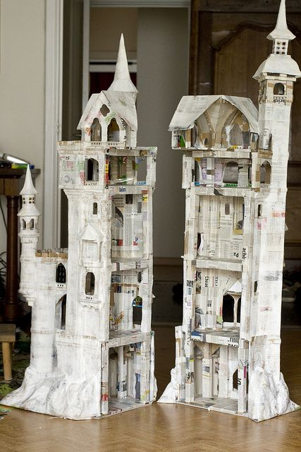 Amazing fantasy castle - no tutorial but lots of photos showing different stages a true inspiration made from cardboard and Paper Mache and air dry clay