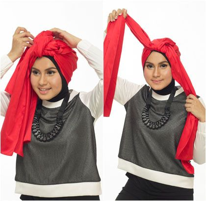 Tutorial Hijab Turban Tumpuk Menggunakan Scarf Panjang
