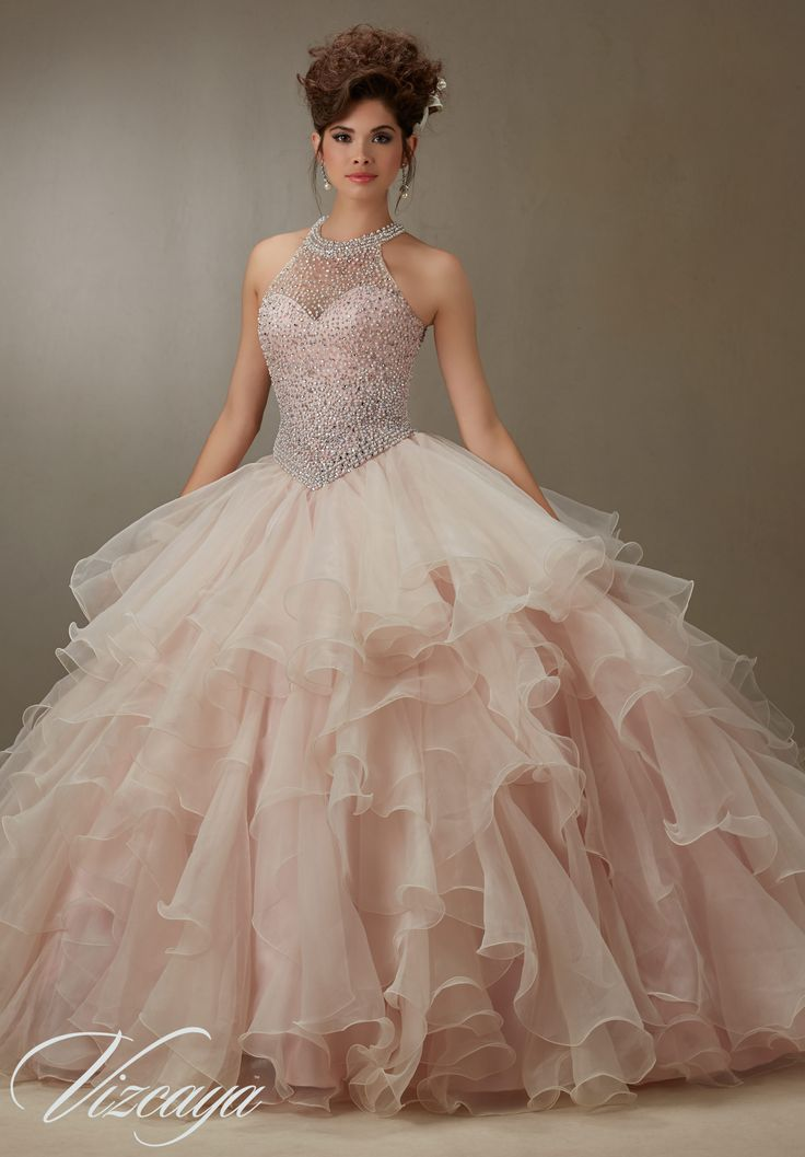 Quinceanera Dress  Ruffled Organza Skirt with Pearl Beaded Bodice