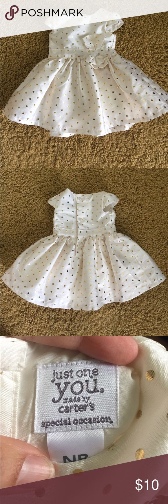 Newborn Party Dress in cream & gold Like new! Worn once. Smoke/pet free home. Special occasion dresses in NB are so hard to find! Just one You by Carter's brand. Off white with gold polka-dots Carter's Dresses Formal