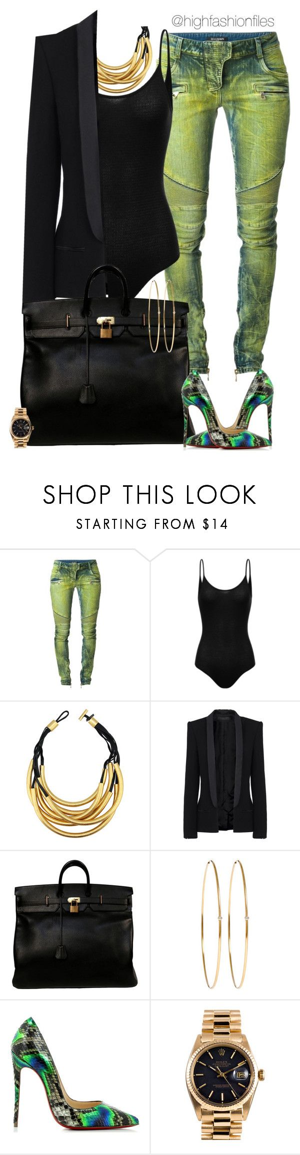 Neon Lights by highfashionfiles ❤ liked on Polyvore featuring Balmain, Monies, Haider Ackermann, Hermès, Jennifer Meyer Jewelry, Christian Louboutin and Rolex
