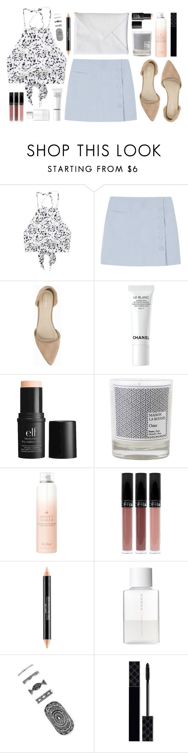 """""""Sunday best"""" by sophiehackett ❤ liked on Polyvore featuring Nly Shoes, Chanel, e.l.f., Maison La Bougie, Drybar, SUQQU, Forever 21 and Gucci"""