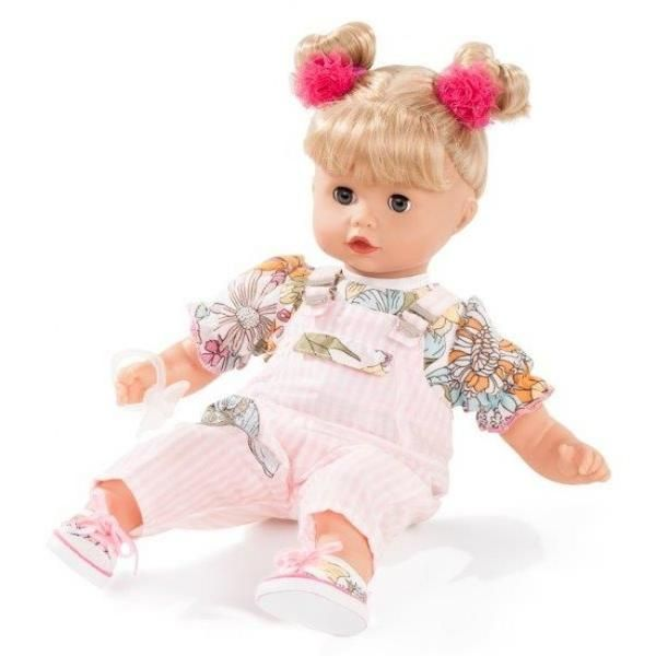 Gotz muffin dolls have a soft cuddly body and vinyl limbs so that she's easily posable. She has a beautifully sculptured vinyl face blonde hair dressed in pink overalls.#toys2learn#gotz#doll#dolls#muffin#girl#hair#blonde#33cm#australia#