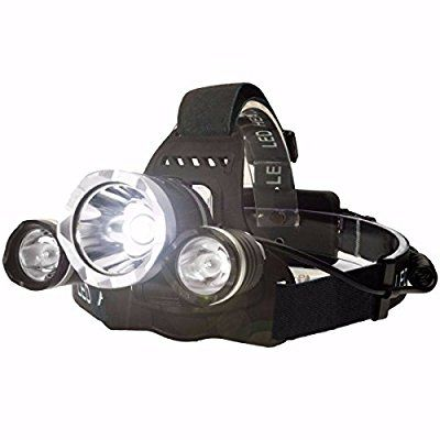 OUTERDO 5000Lumen LED Headlamp 3 LED 3 X Chips XML T6 +2R5 Headlight Flashlight Torch 4 Mode Head Lamp For Outdoor Sports (Battery not Included)