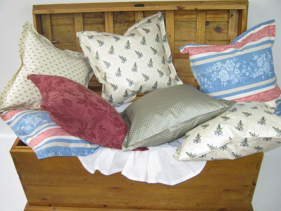 LAURA ASHLEY Vintage Fabric Cream Blue Bows - Handmade Cushion Covers - Cottage Farmhouse Style - including Duck & Goose Feather Pads
