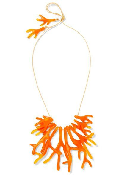 EXCLUSIVE AT NET-A-PORTER.COM. Part of the label's 'Ocean' collection, this 'Coral Fan' necklace is handmade from vivid orange resin - loved by Dinosaur Designs co-founder Stephen Ormandy for its fluid feel. It's finished with a silver designer-stamped bead and adjustable cord fastening for a personalized fit.