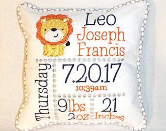 Custom Birth Announcement Pillow - Embroidered with baby's birth information with Lion in Yellow, Orange, Gray and Navy color scheme