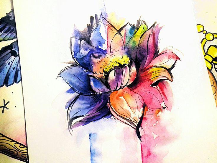 Lotos. Watercolor.