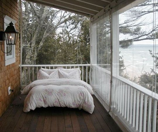 i want a sleeping porch someday.  From Cottage Company  Via Apartment Therapy: Idea, Favorite Places, Dream, Sleeping Porches, Cottage, Outdoor, House, Space, Bedroom